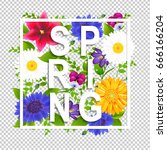 spring time poster gradient... | Shutterstock .eps vector #666166204