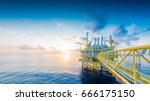 panorama of offshore oil and... | Shutterstock . vector #666175150