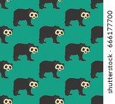 bear pattern on the green...   Shutterstock . vector #666177700