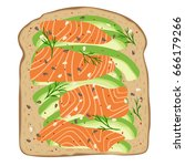 avocado salmon toast. delicious ... | Shutterstock .eps vector #666179266