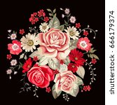 bouquet with pale roses and red ... | Shutterstock .eps vector #666179374