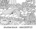 beautiful mermaid sleeping on...   Shutterstock .eps vector #666183913