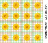 golden button flowers on chess... | Shutterstock .eps vector #666188554