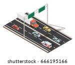 isometric highway traffic... | Shutterstock .eps vector #666195166