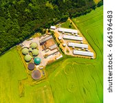 aerial view over biogas plant... | Shutterstock . vector #666196483
