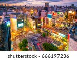 shibuya crossing from top view... | Shutterstock . vector #666197236