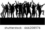 dancing people silhouettes. | Shutterstock .eps vector #666208576