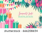horizontal template with gift... | Shutterstock .eps vector #666208654