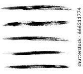 set of black ink brush strokes. ... | Shutterstock .eps vector #666211774