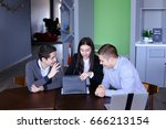 women's and two men are looking ... | Shutterstock . vector #666213154