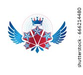 winged ancient star emblem... | Shutterstock .eps vector #666214480