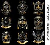 heraldic coat of arms created... | Shutterstock .eps vector #666216250
