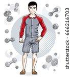 confident handsome brunet young ...   Shutterstock .eps vector #666216703