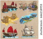 pack of boats and ships around... | Shutterstock .eps vector #666218953