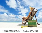 girl on the beach | Shutterstock . vector #666219220