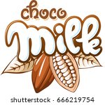 milk  chocolate and cocoa bean... | Shutterstock .eps vector #666219754