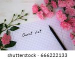guest list with small roses... | Shutterstock . vector #666222133