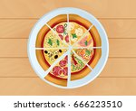 pizza vector illustration.... | Shutterstock .eps vector #666223510