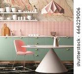 mockup interior kitchen in... | Shutterstock . vector #666229006