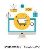 online shopping  online order... | Shutterstock .eps vector #666230290