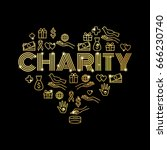 charity and donations. set with ... | Shutterstock .eps vector #666230740