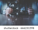 businessman hand working with... | Shutterstock . vector #666231598