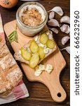 Small photo of sandwich with lard with onion and garlic - healthy snack on an autumn day