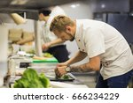 chef finishing her plate and... | Shutterstock . vector #666234229