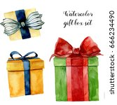 watercolor gift boxes set. hand ... | Shutterstock . vector #666234490