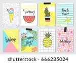 set of cute hand drawn summer... | Shutterstock .eps vector #666235024