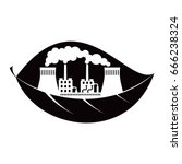 black eco concept icon. flat... | Shutterstock .eps vector #666238324