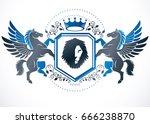 classy emblem  vector heraldic... | Shutterstock .eps vector #666238870