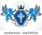 classy emblem  vector heraldic... | Shutterstock .eps vector #666239524
