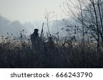 silhouette of the two hunters... | Shutterstock . vector #666243790
