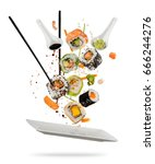 sushi pieces placed between... | Shutterstock . vector #666244276