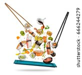 sushi pieces placed between... | Shutterstock . vector #666244279