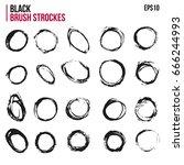 set of brush strockes in circle ... | Shutterstock .eps vector #666244993