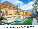 luxury exterior design pool... | Shutterstock . vector #666248578