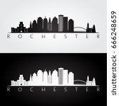rochester usa skyline and... | Shutterstock .eps vector #666248659