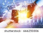 peer to peer payment concept... | Shutterstock . vector #666250306
