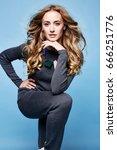 sexy beautiful woman long blond ... | Shutterstock . vector #666251776