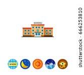 three storied school building... | Shutterstock .eps vector #666253810