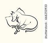 sleeping dog.vector... | Shutterstock .eps vector #666253933