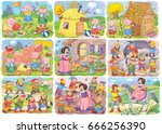 two fairy tales. bundle with... | Shutterstock . vector #666256390