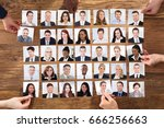 businesspeople hand selecting... | Shutterstock . vector #666256663
