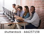 young call center team talking... | Shutterstock . vector #666257158
