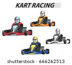 racers in the karts in... | Shutterstock .eps vector #666262513