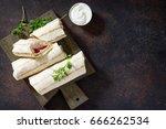 shawarma pita bread with...   Shutterstock . vector #666262534