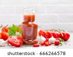 tomato ketchup  chilli sauce ... | Shutterstock . vector #666266578
