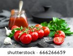 tomato paste  sauce  ketchup or ... | Shutterstock . vector #666266659